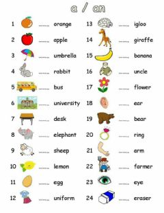 Interactive worksheet Indefinite article A AN