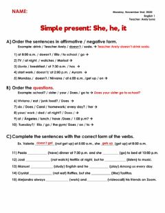 Interactive worksheet Simple present: She, he, it
