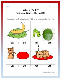 Interactive worksheet On and Off