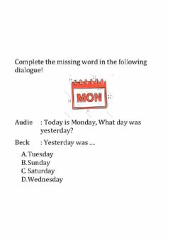 Interactive worksheet The Names of Days