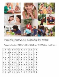 Interactive worksheet Ecosystems,Healthy Habits, First Aid,Stimuli