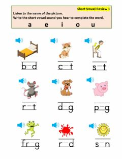 Interactive worksheet Short Vowel Review 1