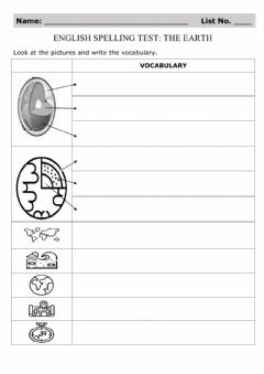 Interactive worksheet Spelling Test: The Earth
