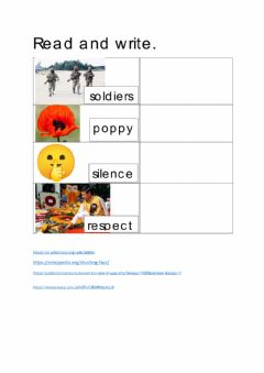 Interactive worksheet Remembrance Day Words