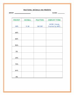 Interactive worksheet Fraction, Decimal and Percent