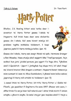 Interactive worksheet Harry Potter (Malti) 2