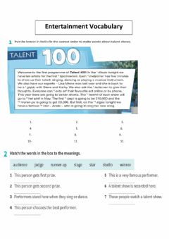 Interactive worksheet Entertainment vocabulary