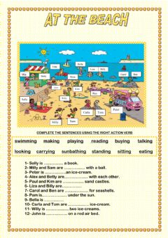 Interactive worksheet At The Beach