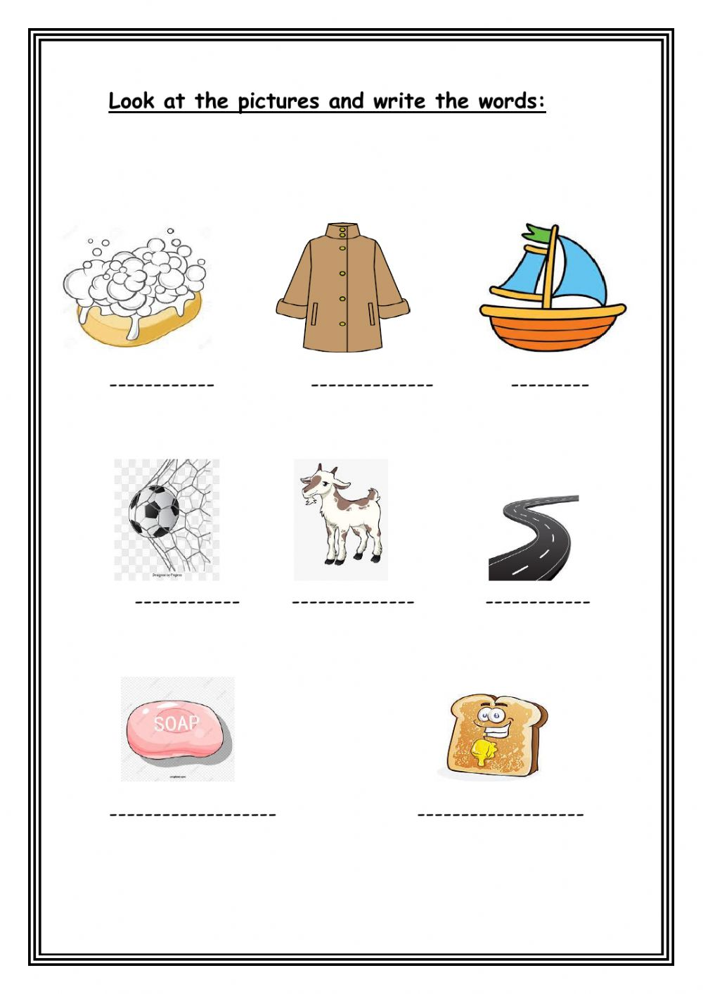 Look At The Pictures And Write The Words Worksheet