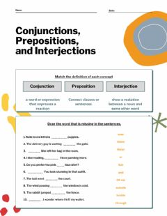 Interactive worksheet Conjuction, preposition and interjection