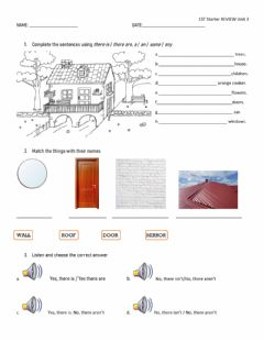 Interactive worksheet Unit 3 Revision 1st Starters