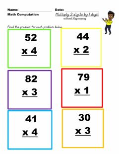 Interactive worksheet Multiply 2 by 1 no regroup