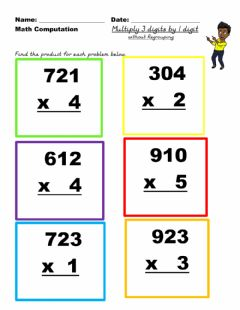 Ficha interactiva Multiply 3 digit by 1 digit no regrouping