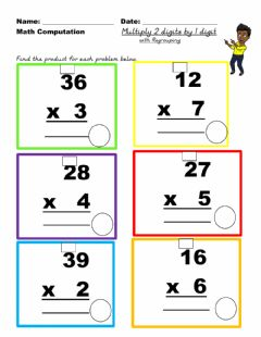 Ficha interactiva Multiply 2 by 1 with regrouping