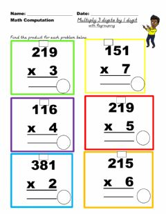 Interactive worksheet Multiply 3 digit by 1 digit  regrouping