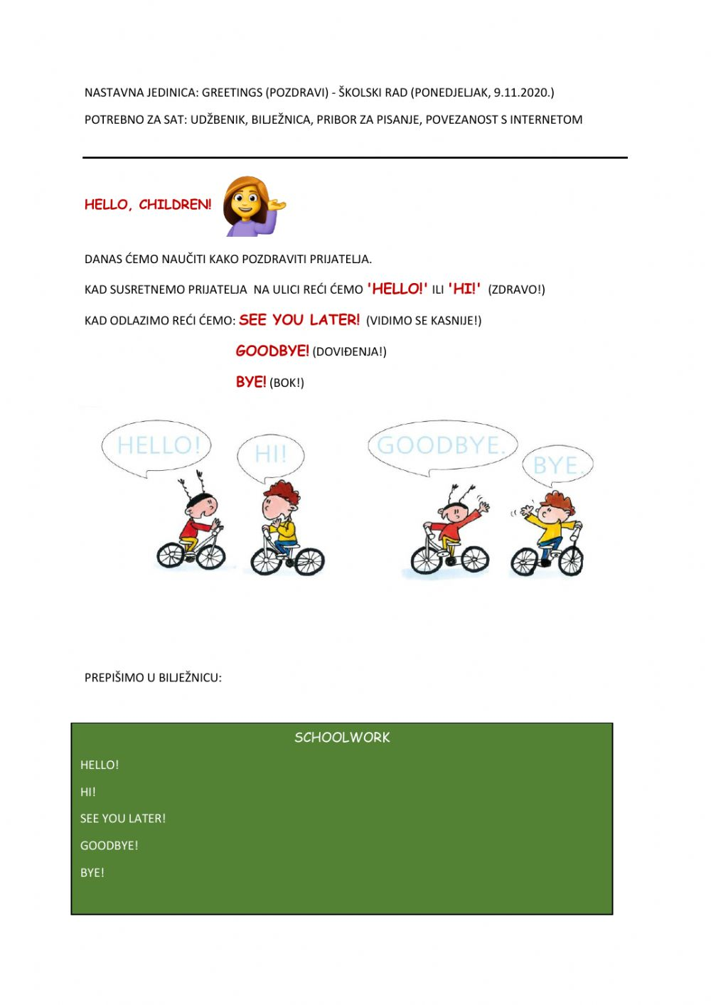 Unit1 Lesson1 Hello Hi See You Later Goodbye Worksheet