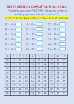 Interactive worksheet Resta decenas completas en la tabla.