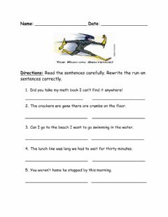 Interactive worksheet Run-On Sentences