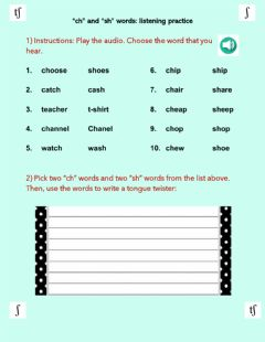 Interactive worksheet Ch and sh words