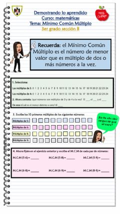 Interactive worksheet Mínimo Común Multiplo