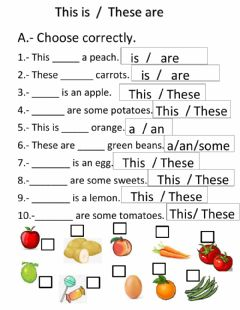Interactive worksheet This is-These are -a-an -some