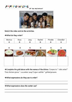 Interactive worksheet Friends - at the restaurant