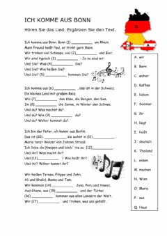 Interactive worksheet Lied -Ich komme aus Bonn-