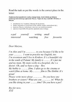 Ficha interactiva Informal letter to an exchange student