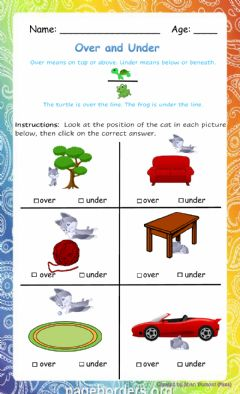 Interactive worksheet Over and Under