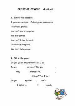 Interactive worksheet Present simple do-don't