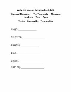 Interactive worksheet Place value with decimals