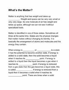 Interactive worksheet What is Matter?