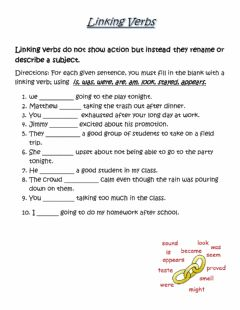 Interactive worksheet Linking Verbs