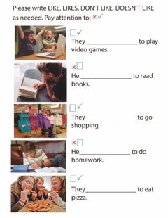 Interactive worksheet Like, Don-t Like, Feelings, Polite Requests, Present Simple and Progressive