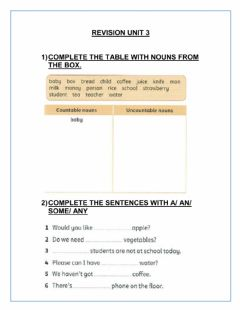 Interactive worksheet Revision unit 3