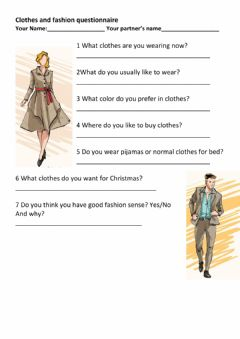 Interactive worksheet Clothes Questionaire