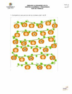 Interactive worksheet Conteo 10 al 29