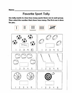 Interactive worksheet Sports Tally