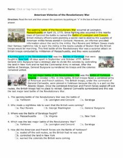 Interactive worksheet American Victories of the Revolutionary War text only