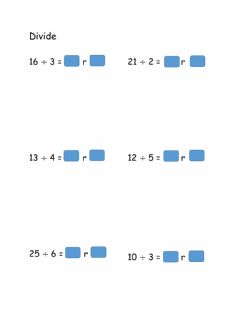 Interactive worksheet Division with remainder