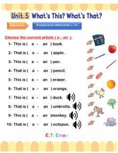 Interactive worksheet Article a-an