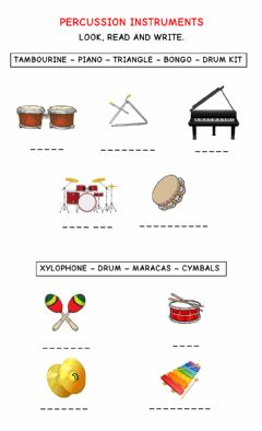 Interactive worksheet Percussion Instruments