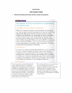Interactive worksheet First Colonial Period