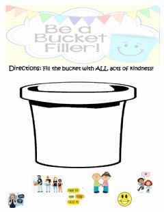 Interactive worksheet Acts of Kindness: Be a bucket filler!