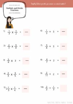 Interactive worksheet Multiply and Divide fractions