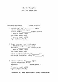 Interactive worksheet Song - can