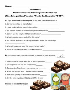Interactive worksheet Sentences Declarative and Interrogative- Also: Phonics- Words that End with -dge-