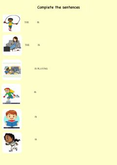 Interactive worksheet Actions: she is- he is