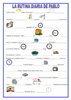 Interactive worksheet La rutina de Pablo