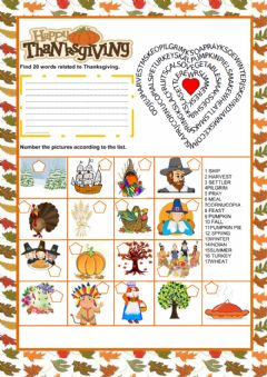 Interactive worksheet Thanksgiving Pictionary and Wordsearch